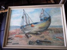 VINTAGE ORIGINAL FRAMED OIL PAINTING INDISTINCT SIGNATURE DUNGENESS 1962 BOAT